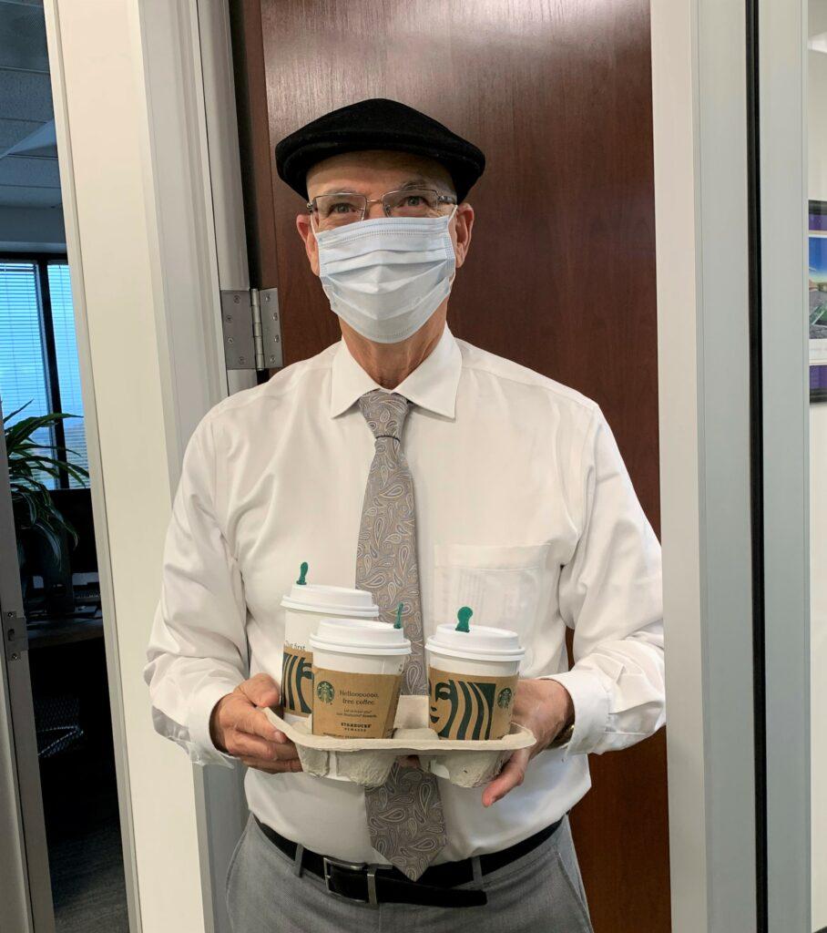 David Wilson serving coffee